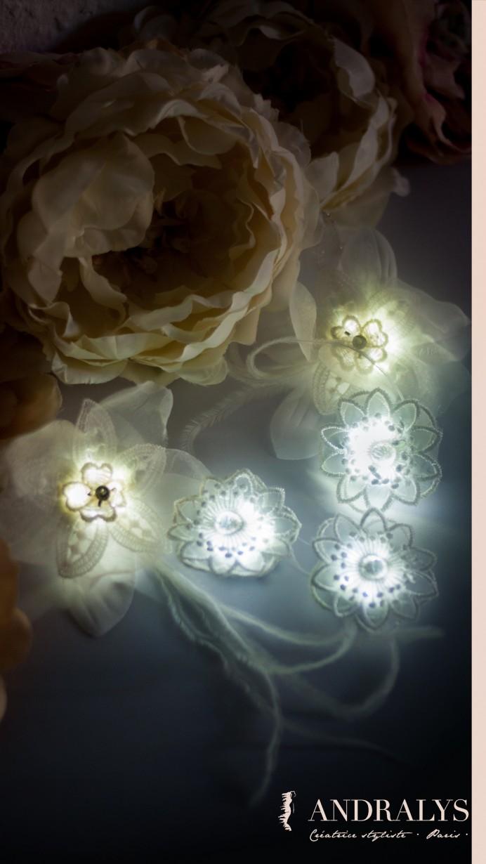 Attache-traînes et clips lumineux pour la mariée