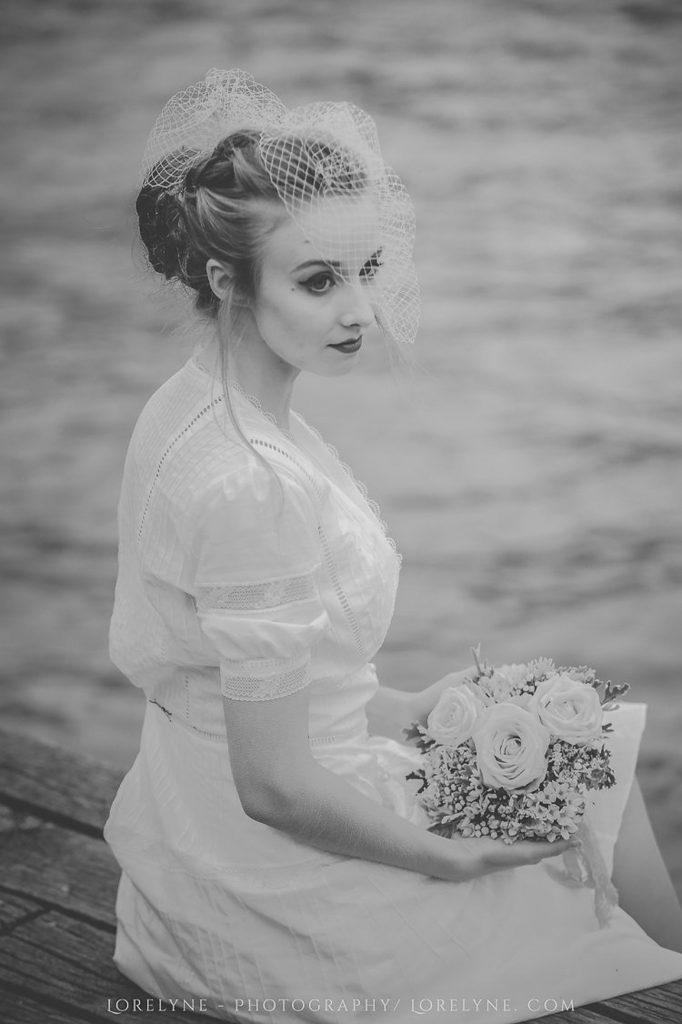 La robe de mariée rétro Madelyne en coton et dentelles à retrouver à Martignas sur Jalle