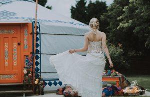 Robe de mariée bohème Rachel - Bordeaux