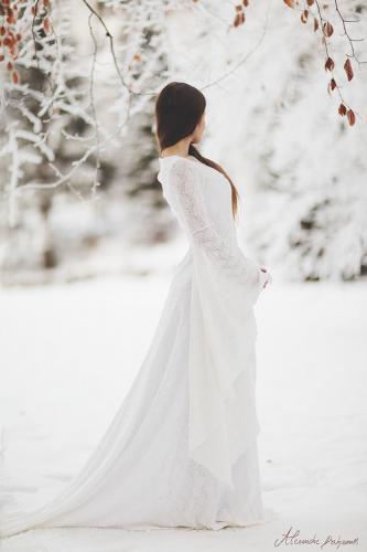 Robe de mariée médiévale elfique Dame Blanche