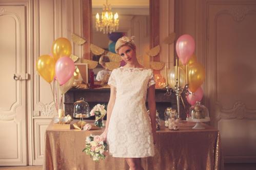 Robe de mariée sixties années 60