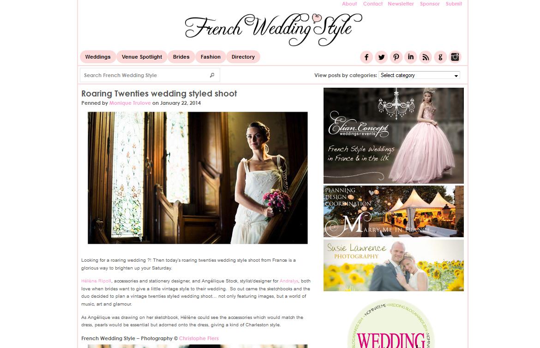 Robe de mariée années 20 dans French wedding style blog