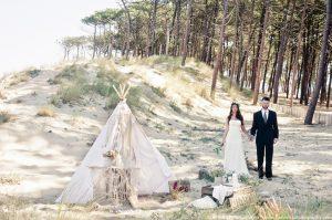 Mariage bohème hippie à la plage Dune du Pilat