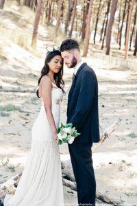 Shooting inspiration mariage - fleurs papier - Dune du Pilat - Bordeaux