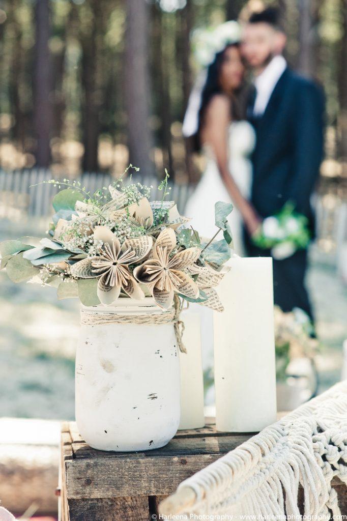 Décoration bohème à la dune du Pilat - pot de fleurs en papier