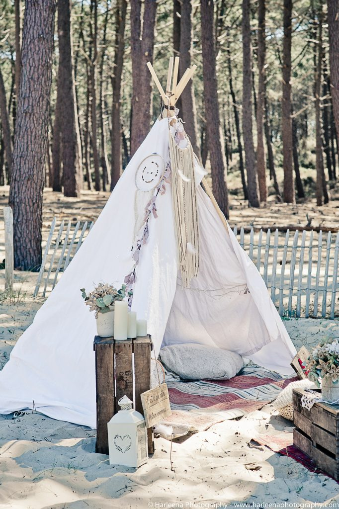Mariage hippie boho tipi