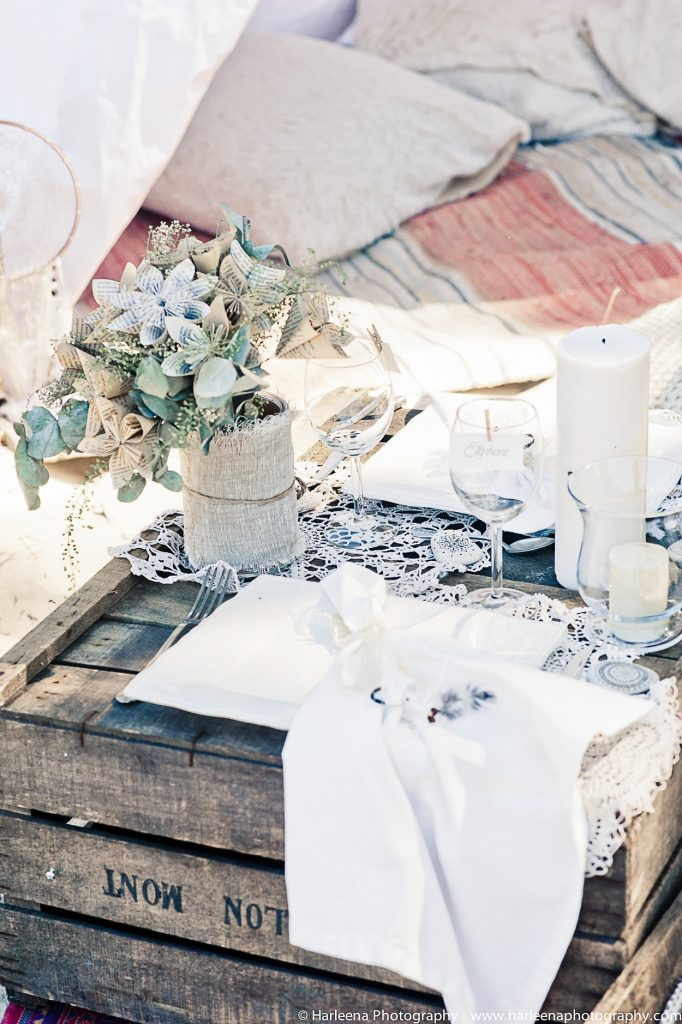 décoration mariage bohème vaisselle