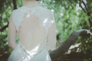 Dos nu de la robe de mariée champêtre ribye à Bordeaux