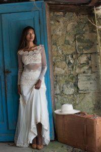 robe de mariée bohème - hippie sur-mesure à Bordeaux