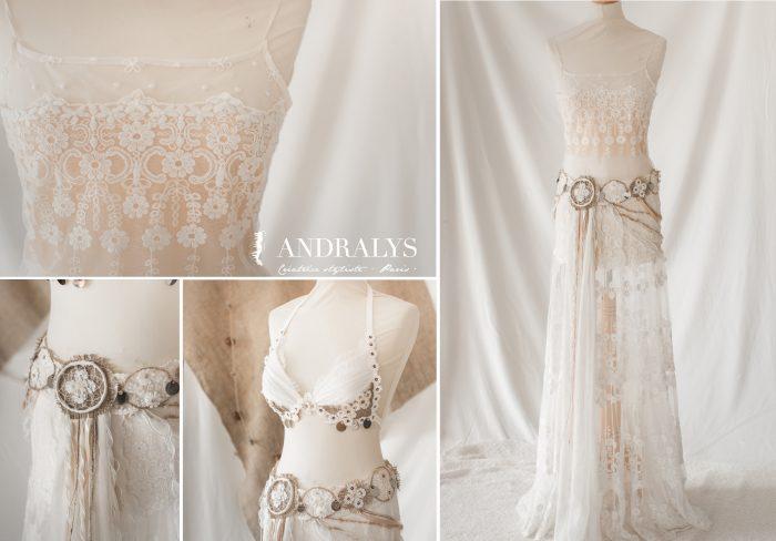 robe de mariée dentelle broderie sur tulle