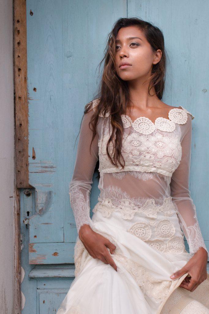 robe de mariée dentelle guipure coton