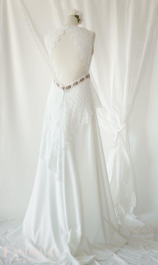 robe de mariée dentelle broderie de coton sur tulle