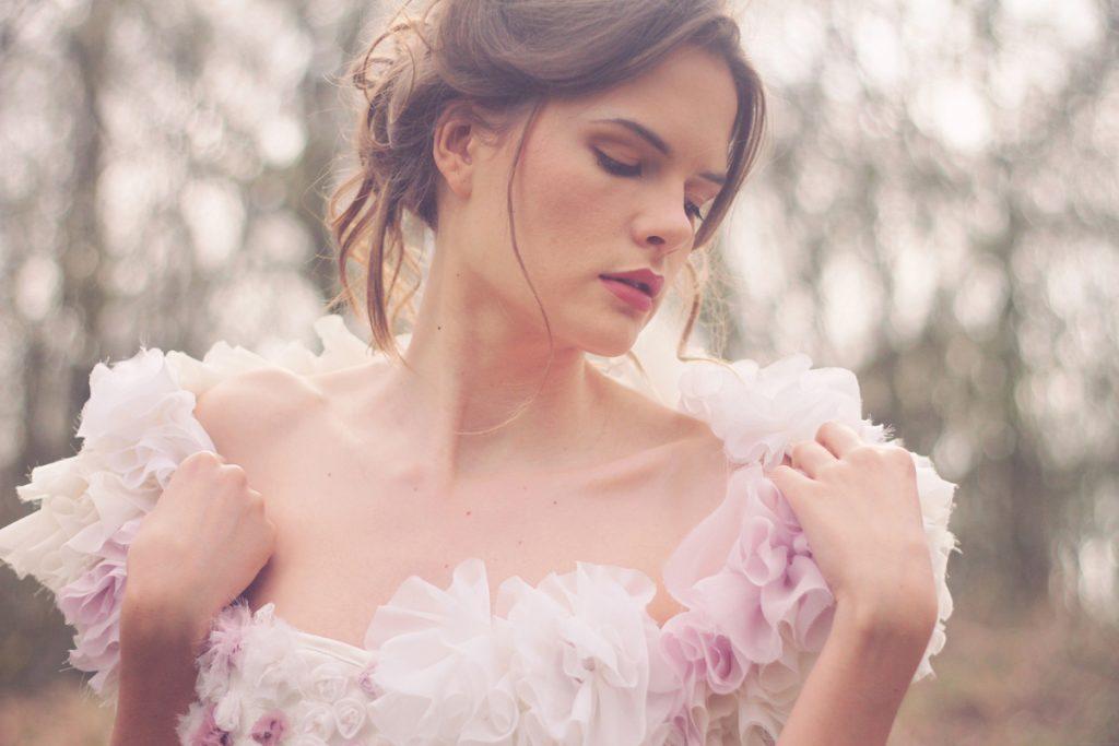 Boléro de mariée rose poudré