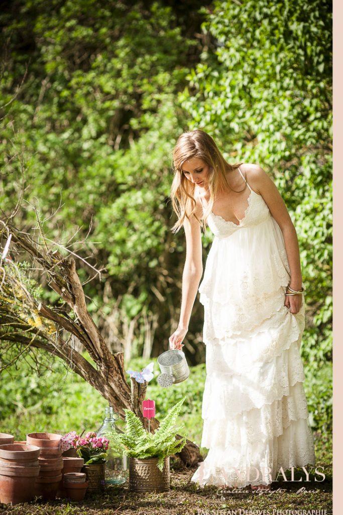 robe de mariée dentelle de coton sur tulle