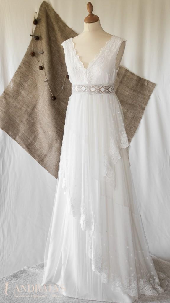 robe de mariée dentelle broderie coton sur tulle