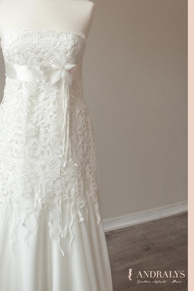 robe de mariée dentelle et guipure