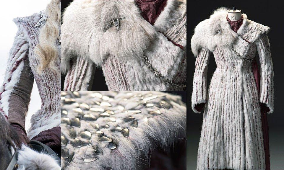 magnifiques détails du manteau en fourrure de daenerys